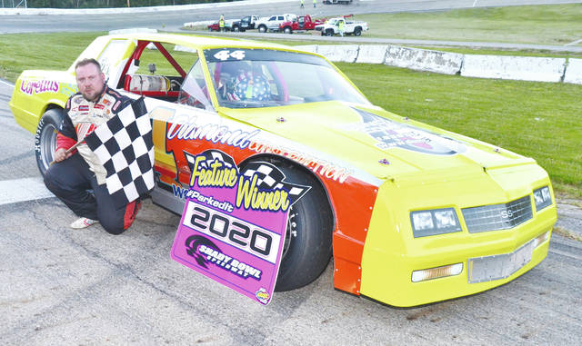 Christiansburg's Patrick Wood (pictured) won the Pines Home Solutions Thunder Car feature at Shady Bowl Saturday night.