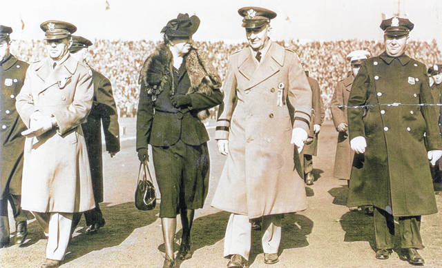 This Nov. 29, 1941, photo (#A2459) at the Champaign County Historical Museum shows Maj. Gen. Eichelberger, superintendent of the U.S. Military Academy, escorting Eleanor Roosevelt at the Army-Navy football game at West Point.