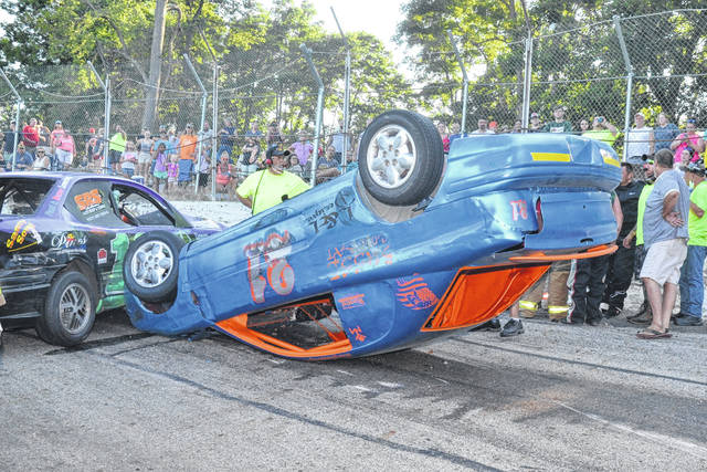 St. Paris driver Ben Cartwright ended up on his top at Shady Bowl on Sunday. He was uninjured.