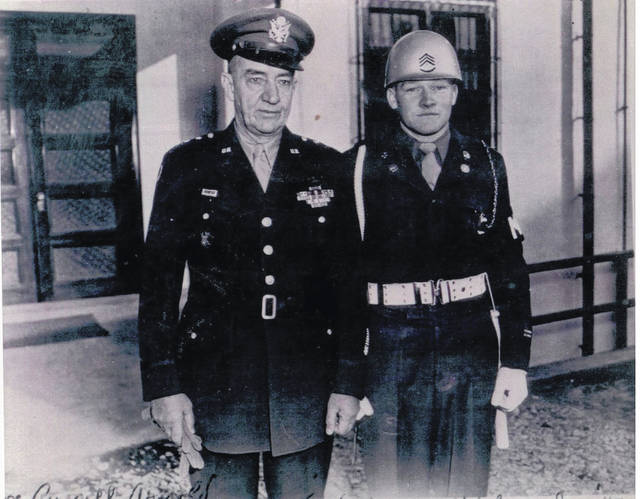 This photo of Gen. Robert Eichelberger and Sgt. Russell Arnold was taken at Yokohama, Japan, in June 1947.