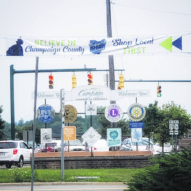 The Champaign County Chamber of Commerce, with the financial assistance of a private donor, had a banner installed at the intersection of East state Route 29 and East U.S. Route 36 encouraging residents to support local businesses.