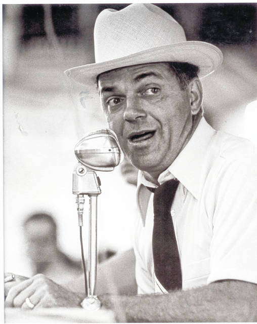 Merlin Woodruff, shown in this 2008 photo (#A1766, Champaign County Historical Museum), was a popular livestock auctioneer in Champaign County and beyond.
