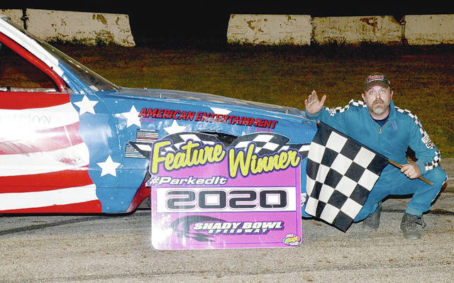 Andy Pine (pictured) of Urbana won the Pines Home Solutions Thunder Car main event at Shady Bowl Saturday night.