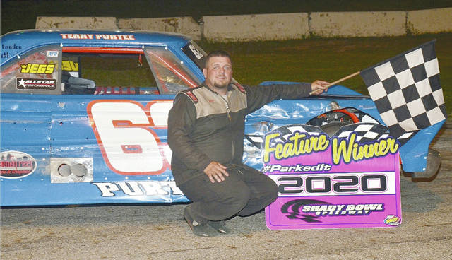 Buck Purtee (pictured) doubled up and won the street stock main and The Thunder Car feature at Shady Bowl Saturday night.