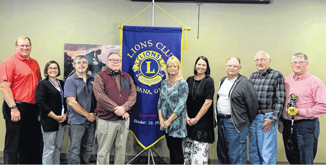 Urbana Lions Club Past President Steve Moore installed the new 2020-2021 board. From left are Past President Zac Fiely; Secretary Jenny White; Treasurer Bob Nuzum; President Bill Bean; Vice President Deb Jenkins; Membership Chair Audra Bean; board member Clete Scott; Lion Tamer Dale Long; Tail Twister Wayne Smith. Board members not shown: Ben Headlee, Jeremiah Stocksdale and Kyle Hall.
