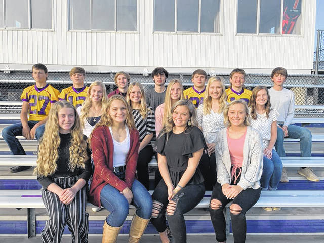 Mechanicsburg High School has announced its homecoming court. Picture are (front row): Hannah Dingledine, Cami McDonald, Gracie Carpenter, and Elle Vanhoose; (second row) Audrey Ayars, Mallory Blakeman, Grace Forrest, McKenzie Hoewischer, and Emma Lewis; (third row) Lane Poland, Hayden Delong, Deacon Morgan, Brooks Tom, Chayse Propst, Aaron Conley, and Mason Hess. Not pictured: Keith Bebout and Jake Thiel. Announcing of the court will take place on Wednesday with a limited occupancy parade at the stadium. King and Queen will be announced at Friday's game vs West Liberty-Salem.