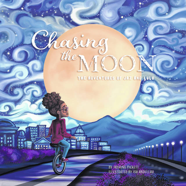 "Pictured is the cover of Jasmine Pickett's book, titled ""The Adventures of Jaz and Lulu: Chasing the Moon."""