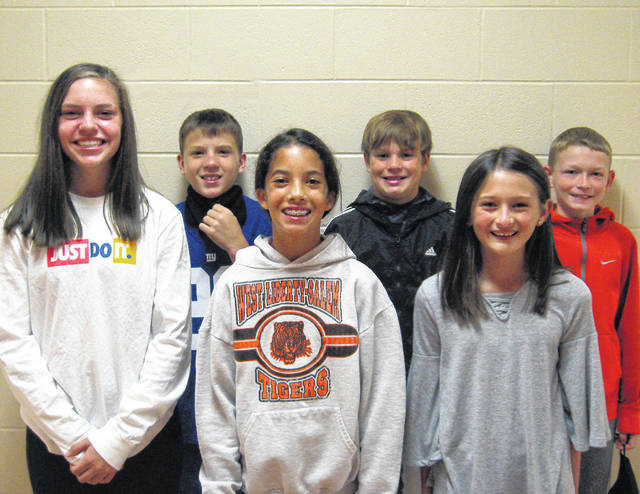 West Liberty-Salem Middle School's September Students of the Month are 8th graders Teagon Boyd and Carson Instine, 7th graders Malia Miller and Jake Lauck and 6th graders Natalie Fish and Noah Sarver.