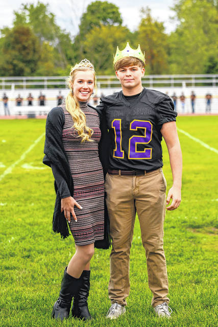 Mechanicsburg named Audrey Ayars and Hayden DeLong the 2020 Homecoming queen and king during a socially-distanced ceremony on Wednesday. Homecoming ceremonies are being held under such safety guidelines due to the pandemic. The Indians host West Liberty-Salem tonight in the season's homecoming game.
