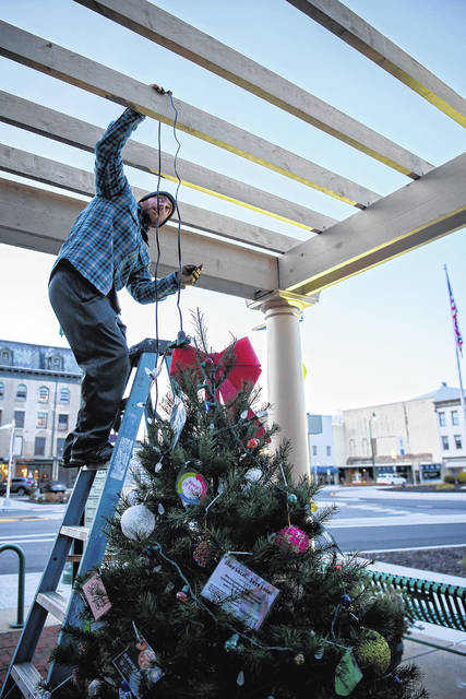 Jeremiah Stocksdale strings lights onto a Christmas tree in downtown Urbana's Legacy Park this week. Downtown is decking the halls for Christmas.