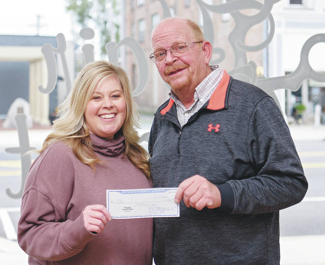 Amy Jumper, owner of The Hair Closet, presents a check to Brett Evilsizor, president of the Cancer Association of Champaign County. Jumper organized local businesses to donate items for two gift baskets. Raffle tickets were sold for the gift baskets with 100% of the proceeds being donated to the CACC. The raffle raised $900 in donations for the CACC. The COVID-19 pandemic has severely restricted the CACC's fundraising abilities. People may donate by mailing a check to the Cancer Association of Champaign County, P.O. Box 38125, Urbana 43078.