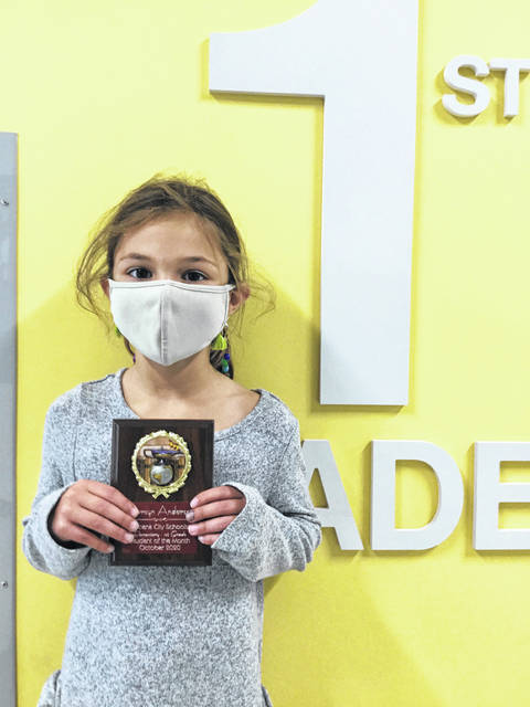 First grader Carsyn Anderson is an October Urbana Elementary Student of the Month.