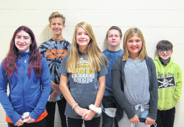 West Liberty-Salem Middle School's October Students of the Month are, from left, 8th graders Jessa Beard & Quentin Rudolph; 7th graders Gwen McCullough & Caleb Heater; 6th graders Claire Ling & Troy Christison.