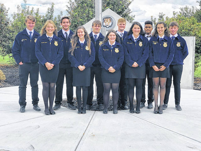 The West Liberty-Salem FFA had annual officer interviews Sept. 30, and an election on Nov. 1 resulted in the following 2020-2021 officers: President Cooper Havens, Vice President Morgan Damron, Secretary Trinity Perkins, Co-Secretary Gavin Woodruff, Reporter Madeline Hutton, Co-Reporter Dylan Glunt, Treasurer Marissa Bailey, Co-Treasurer Hayden King, Historian Maddox Havens, Sentinel Dawson Jenkins, Student Advisor Olivia Muirhead. Pictured from left in back row are Hayden King, Dawson Jenkins, Cooper Havens, Maddox Havens, Dylan Glunt and Gavin Woodruff. In the front, from left, are Madeline Hutton, Morgan Damron, Marissa Bailey, Olivia Muirhead and Trinity Perkins.