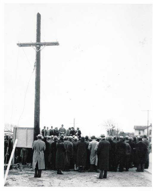 On November 14, 1935, 500 people, mostly rural residents, gathered in Piqua to celebrate the groundbreaking and erection of the first electric cooperative pole in the nation.