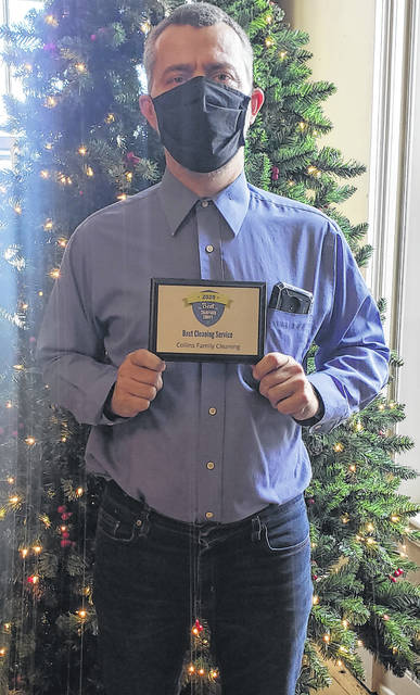 Robert Collins of Collins Cleaning Service received the Best of Champaign County award for Best Cleaning Service from the Champaign County Chamber of Commerce.
