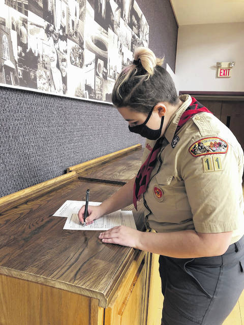 Samantha Meyer, 18, is working to earn the highest rank in Scouts.