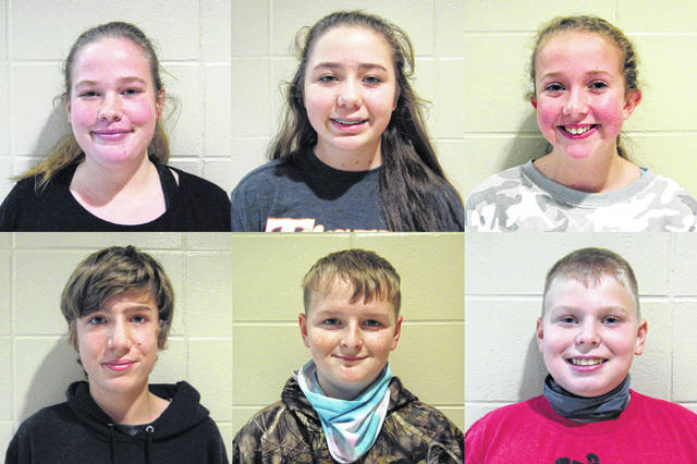 West Liberty-Salem Middle School's November Students of the Month are, from left, 8th graders Kennedy Wallace & Lincoln Henderson, 7th graders Lyndee Harrison & Cameron Pope and 6th graders Kiersten Stoll & Patrick Brooks.