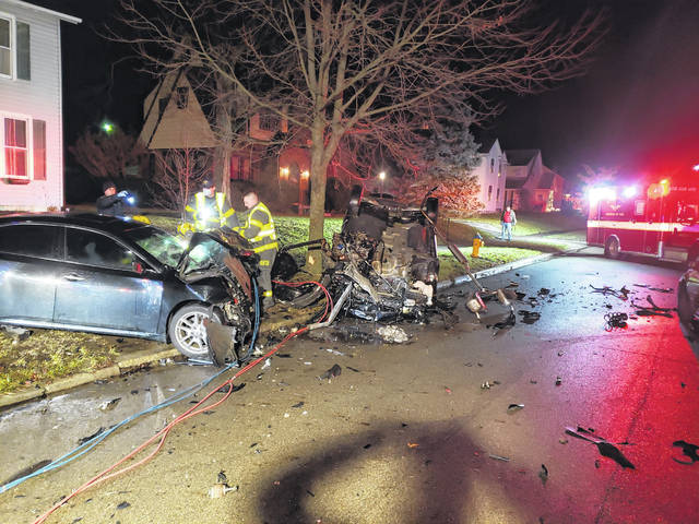 A crash in the 500 block of East Court Street destroyed three vehicles and sent the lone driver to the hospital on Sunday.