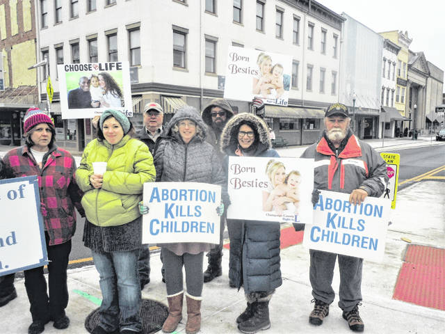 Supporters gather on Sunday for Champaign County Right to Life in Urbana.