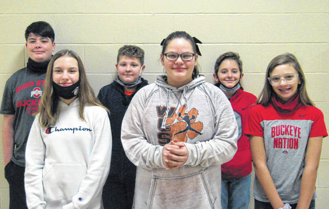 West Liberty-Salem Middle School's December Students of the Month are 8th graders Marley Myers & Greyson Horsley, 7th graders Sadie Paul & Ian Cox and 6th graders Audrianna Evilsizor & Ben Wall.