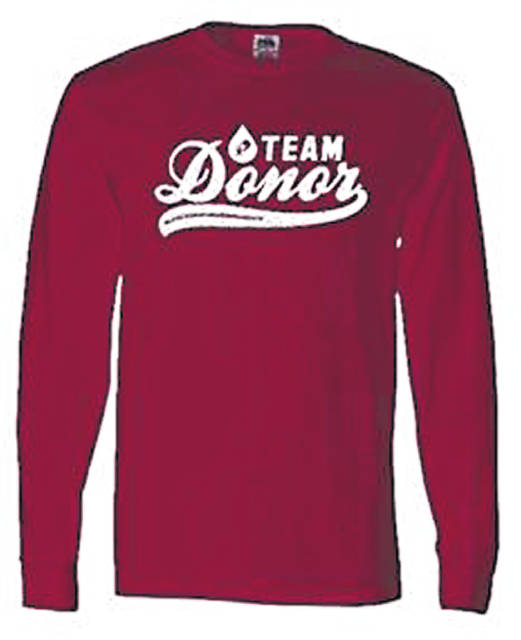 "The ""Team Donor – Blood Donor Awareness Month"" long-sleeve T-shirt is free to those who register to donate with Community Blood Center now through Feb. 27."