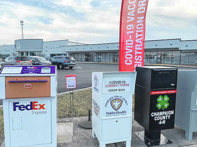 An outdoor drop box is available to local residents who are signing up for the vaccination.