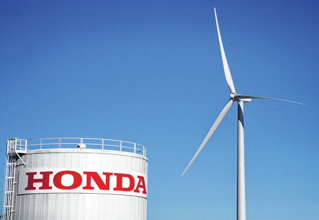 Through the company's Green Factory initiatives, Honda is working comprehensively to address the environmental impacts of product manufacturing by reducing water use, energy use, waste and emissions. Pictured is a wind turbine at Honda Transmission Mfg. of America at Russells Point.