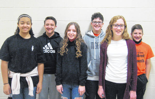 West Liberty-Salem Middle School's January Students of the Month are, from left, 8th graders Laila Butler and Sam Peraza, 7th graders Elise Longshore and Cooper Titus and 6th graders Isabelle Sarver and Braden Hershberger.