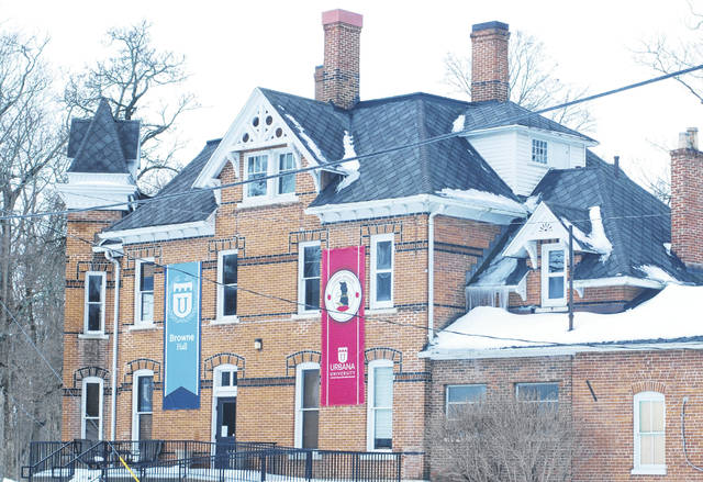 Browne Hall was the final structure to house the Johnny Appleseed collection at the now-defunct Urbana University. With Franklin University now attempting to sell the campus, the collection must find a new home. Pictured at right is a red banner denoting the former Appleseed presence at Browne Hall.