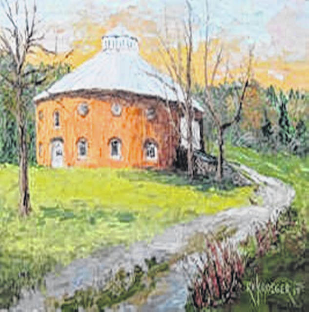This painting of Nutwood in Champaign County will be auctioned at the March 31 event.