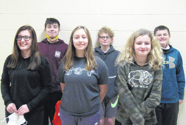 West Liberty-Salem Middle School's February Students of the Month are, from left, 8th graders Nevaeh LaFollette & Collin Thompson, 7th graders Brielle Milliron & Taryn Bradley and 6th graders Sophia Landon & Bayes Lapp.