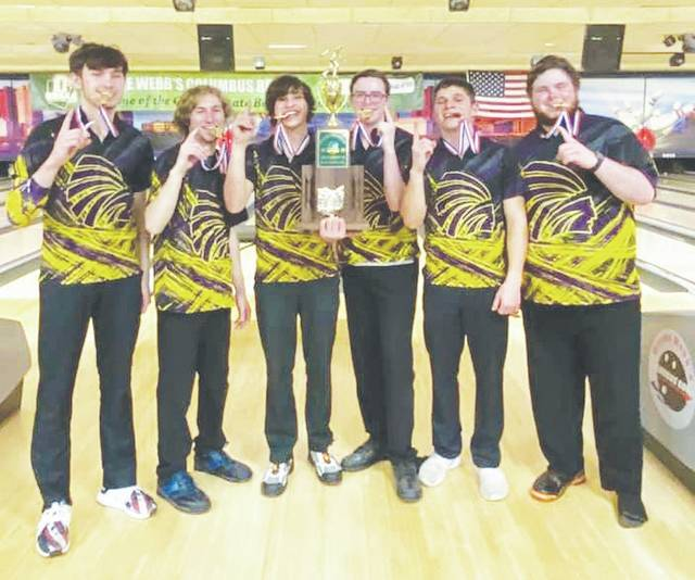 The Mechanicsburg boys bowling team (pictured) won the Division II state title in Columbus on Saturday. The team is comprised of senior Deacon Morgan and juniors Bryen Dewitt, Peyton Leeson, Eli Mayberry, Zach Miller and Jack Wolf. Coaches are Matt Mayberry and Kyle Mayberry. See more on Page 7.