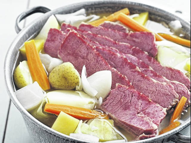 Corned beef is a brisket cut of meat, meaning that it is cut from the breast or lower chest of the cow. As such, it is a tougher cut of meat that requires a longer time to cook in moisture to tenderize the meat.
