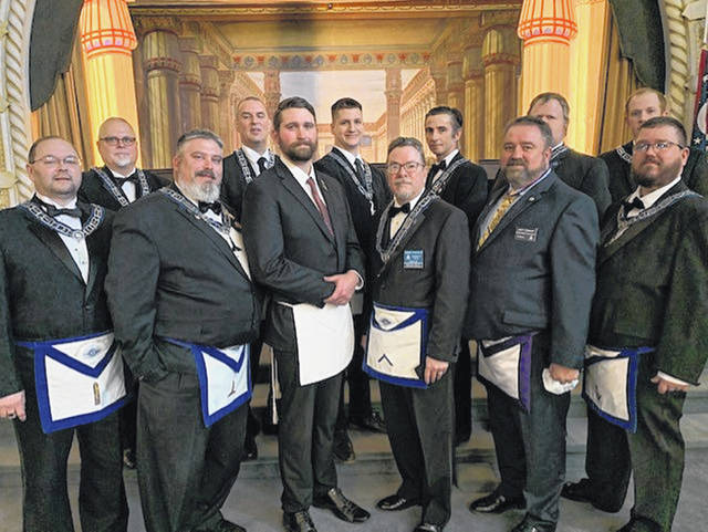 Harmony Lodge #8 held its Annual Inspection last Saturday in the Masonic Center, 222 N. Main St. Urbana. The lodge members congratulate to the Worshipful Master Rob Pollock and his Officers for their practice and dedication for excellent Ritual work. Pictured are (row one): Mike Brown, Jr. Warden; Chris Mann, Sr. Warden; Mitchell Bronne, Candidate; Rob Pollock, Worshipful Master; Scott Johnson, District Deputy GM; Chris Gibbs, Sr. Deacon; (row two) Chris Blakeman, Chaplain; Tony Walls, Jr. Deacon, Todd Scarberry, Sr. Steward; Mike Terry, Treasurer; Jerry Gullet, Jr. Steward; Jamison Jones, Secretary.