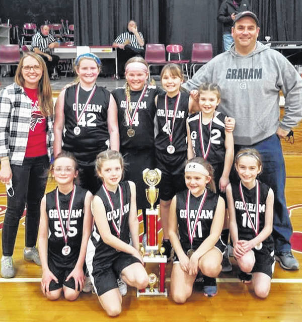 Graham's 4th grade girls basketball team won the silver medal at the recent Triad tournament. Pictured are, front row from left, Julia Wagner, Carly Birchfield, Casey Britton and Kendall Nichols; back row, from left, are Coach Sara Wagner, Allie Ryan, Avah McLean, Lilly Swank, Mallorie Erter and Coach Evan McLean.