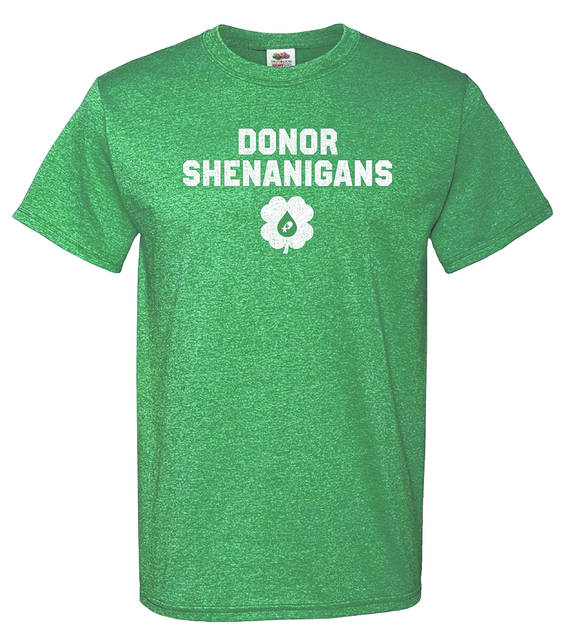 """Everyone who registers to donate will get a St. Pat's """"Donor Shenanigans"""" T-shirt plus free COVID-19 antibody testing."""