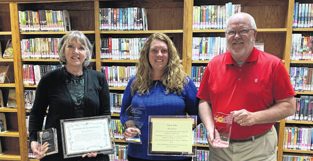 Shown are Robin Hanlin, library fiscal officer; Nicole Baker, library director; and Jeff McCulla, library board of trustees member.