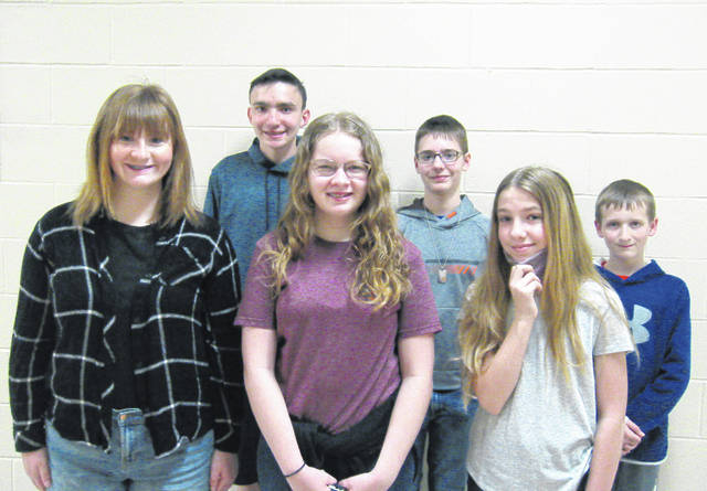 West Liberty-Salem Middle School's March Students of the Month are, from left, 8th graders Courtney Knight & Daniel Neer, 7th graders Alexa Cheetham & Atticus Loudenback and 6th graders Eliza Halterman & Conner Leichty.