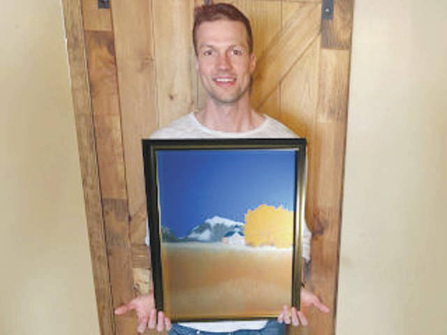 David Woodrow's artwork depicts a school house on Route 24 between Poncha Springs and Buena Vista in Colorado, where he and his family have enjoyed vacations.