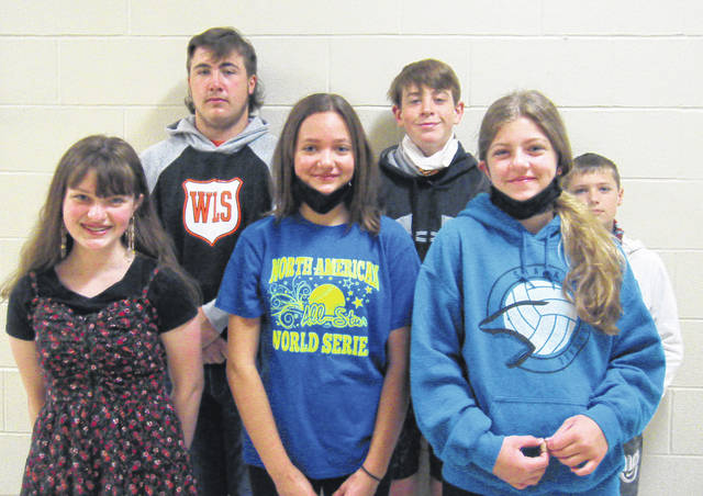 West Liberty-Salem Middle School has awarded their April Students of the Month. Pictured from left are: 8th Grade - Grace Hacker & Cam Bair; 7th Grade - Marisa Smith & Sam Strapp; 6th Grade - Emma Liggett & Madden Kilgore.