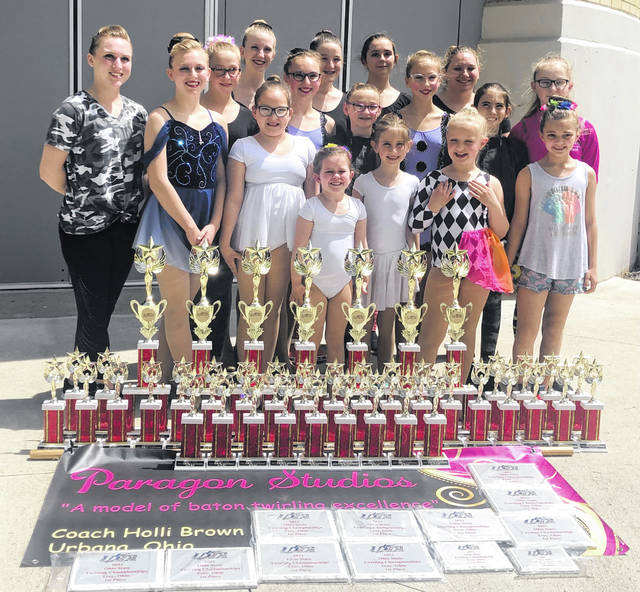 Local baton twirlers won at the Ohio State Championships May 1 and 2. The baton twirlers from Paragon Studios located in Urbana brought home many trophies this year including individual and team wins. Paragon Studios is owned and coached by Holli Brown of Urbana. Pictured from left in back row are Jessica Rooney, Morgan Swiatek, Emily Hughes, Cori Kent; Second row: Phoebe West, Elaei Brown, Bella Serr, Layla West, Evie Schelle, Raegan Serr; Front row: Telanei Brown, Sevonei Brown, Sydney Padilla, Izzy McCall, Arabelle Schelle, Alayna Serr, Cara Mowrey.