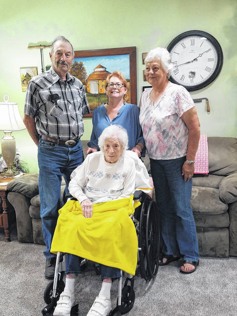 Maxine Hoffman celebrated her 100th birthday at a luncheon with her family on June 7, 2021 at the home of her daughter, Pat Shaffer. She is shown here with her children Paul Hoffman, Judy Butsko and Pat Shaffer.