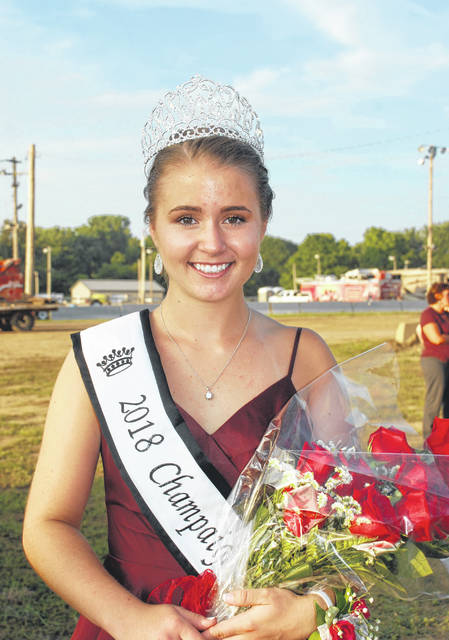 Lora Current is pictured in her crown and sash at the 2018 Champaign County Fair in this file photo.