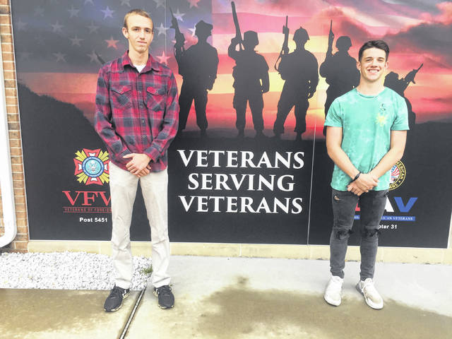 Spriggs-Wing VFW (Veterans of Foreign Wars) Auxiliary Post 5451 of Urbana awarded scholarships to high school graduates Gavin Haffner of Mechanicsburg High School (pictured left) and Gavin Adams of Graham High School (pictured right.) Other recipients not pictured are Joni Russell of Triad High School, Gavin Woodruff of West Liberty-Salem High School and Paige Deere of Urbana High School.