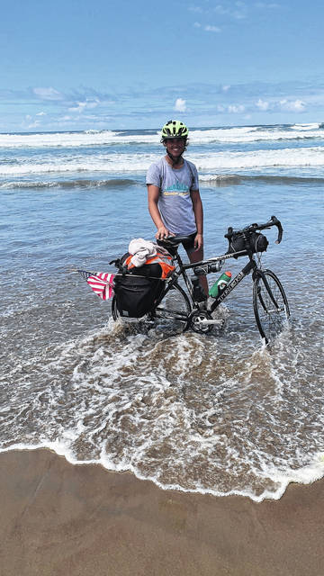 Chasen Poole at his final destination, Florence, Oregon.