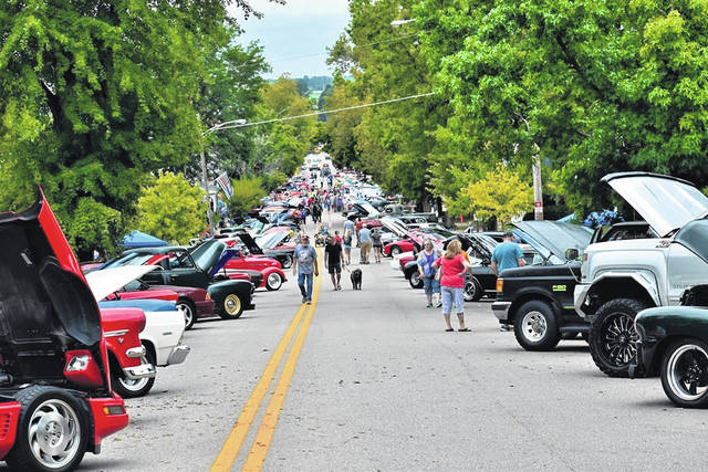 Cars line the streets of Mechanicsburg at a previous year's First Responders Car Show.