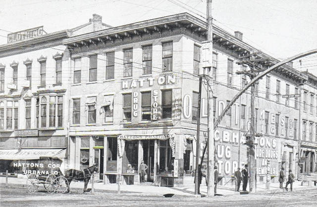 Pictured is the C.B. Hatton Drug Store at the corner of Monument Square and North Main Street, circa 1910.