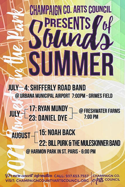 This promotional concert postcard shows the dates of upcoming Sounds of Summer Concerts in the Park.