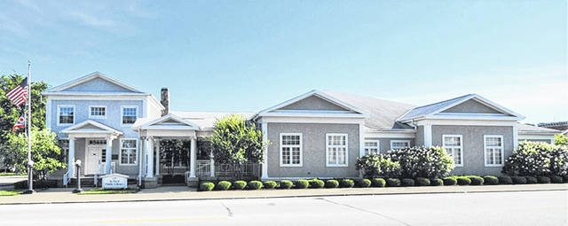 Pictured is a panoramic photo of the St. Paris Public Library, which is marking its 85th year.